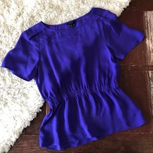 Theory   Royal Purple 100% Silk Peplum Blouse